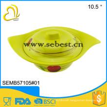 "custom own design leaf shape 10.5"" dinner melamine rice bowl with lid"