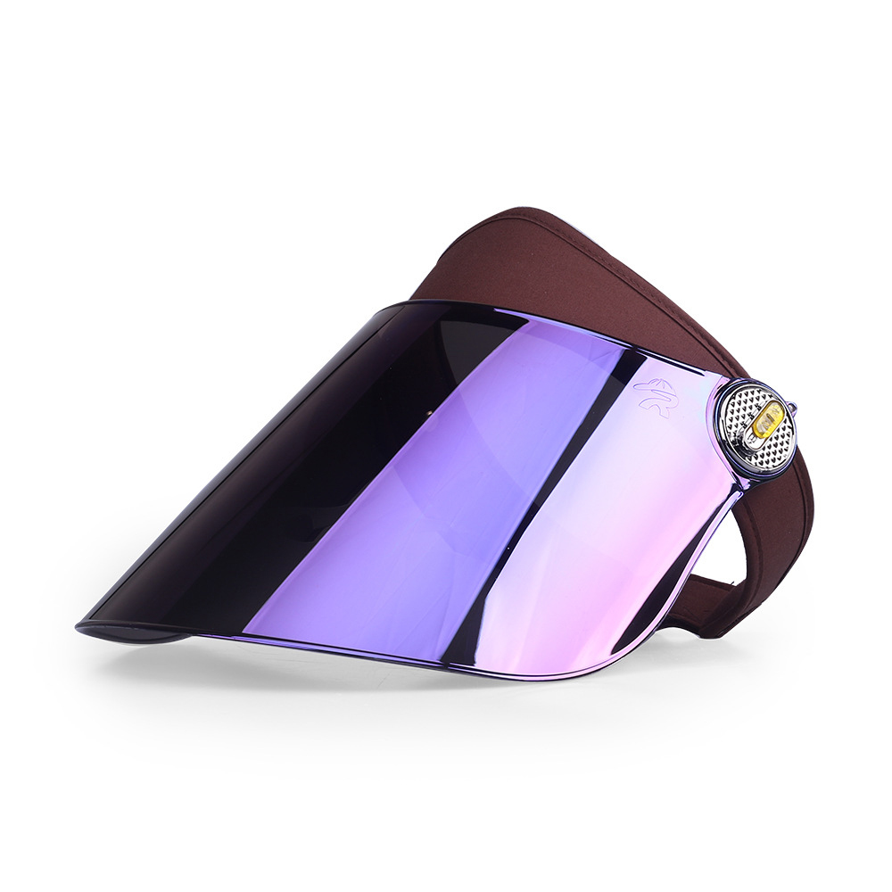 Purple Mirror Laser Plastic Sun Visor Cap Women Hat