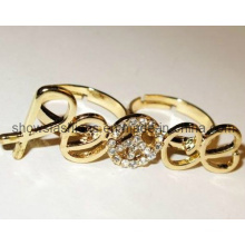 Finger Ring/Two-Finger Alloy with Crystal Plated Ring/ Fashion Jewelry (XRG12080)