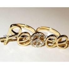 Anel de dedo / liga de dois dedos com anel de cristal banhado / moda (xrg12080)