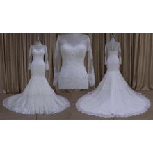 Элегантный бисером свадебное платье с длинным рукавом 2016