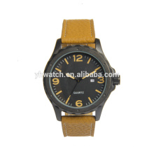 Men's Ancher Watch With Brown Leather Strap And Black Dial