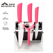 5PCS Ceramic Kitchen Tool Set for Fruit/Chef′s Knife/Peeler with Block