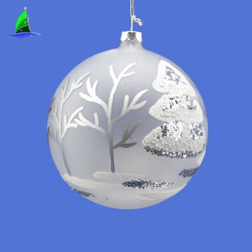 Presentes de natal bolas de enfeite de glitter de vidro fosco