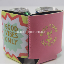 Light Pink Dengan Gold printing Neoprene Can Cooler