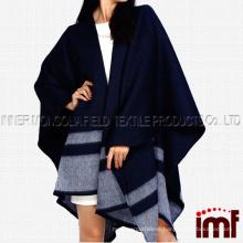 Checked Merino Wool Cape,Reversible Merino Wool Cape