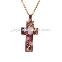 Único estilo boêmio dourado druzy cruz colar, colar de pingente de cruz
