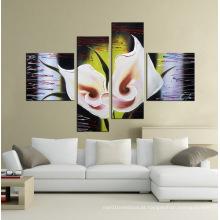 Pinturas a óleo pintadas à mão decorativas da flor