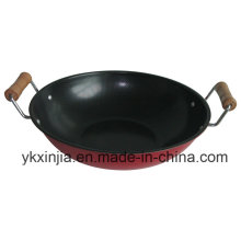 Kitchenware 23cm Carbon Steel Non-Stick Coating Wok with Two Handles