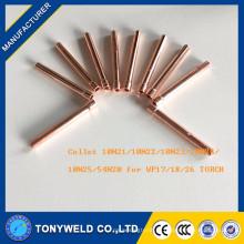 10N21 10N22 tig torch collet para soldagem tocha partes wp17 / 18/26 partes
