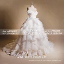 MB16003 Big Long Train Zweite Heirat Brautkleider Rüsche Romantische Brautkleider Tüll Kleid für Brautkleider
