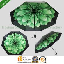 Neue Elemente benutzerdefinierte gedruckten Flower UV 3 Fach Regenschirm (FU - 3821C)