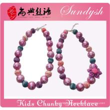 Sister Jewelry Purple Bead Flower Hand Made Girls Bubblegum Chunky Necklace