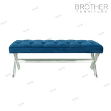 High quality french country style acrylic legs fabric covered bench