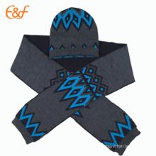 Los juegos hechos punto jacquard de acrílico de la bufanda del sombrero de la gorrita tejida para el invierno
