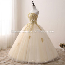 2017 new fashion sweetheart neckline puffy ball gown champagne colored wedding dresses with heavy handmade
