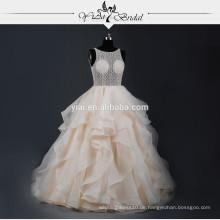 RSW764 Champagner Sexy sehen durch Korsett Bakcless Spitze Brautkleider späteste Hochzeitskleid Entwürfe