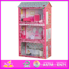 2014 New Cute Wooden Dollhouse Toy, Popular Lovely Children Dollhouse Toy, Hot Sale Pink Color Wooden Baby Dollhouse Toy W06A045