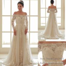 Vestido de vestido de noiva com flores de renda com ombro e ombro de Kelly Bridal em Zhong Shan
