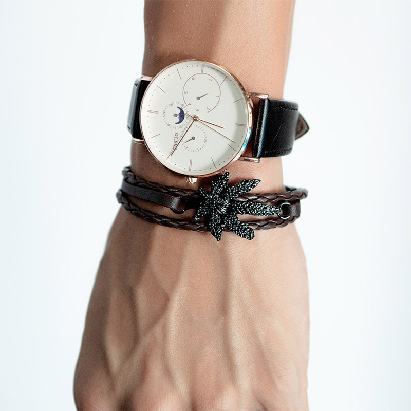 black leather bracelet womens