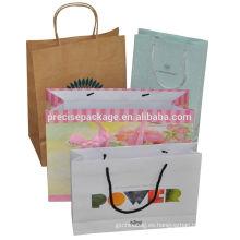 Bolsos de compras de papel de la maneta caliente de la venta de la moda kraft