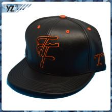 customized logo resonable price black leather snapback cap