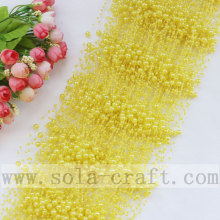 Decorative Sparkle Plastic Pearl Beaded Garland For Wedding Decoration With Yellow Color