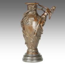 Vase Carving Statue Flower Lady Decoration Bronze Sculpture TPE-668 / 669