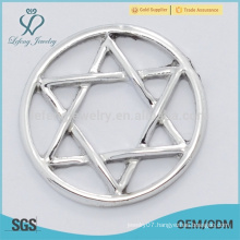 China factory price pure zinc alloy plates, star shape clear glass window plates fit fot 30mm lockets