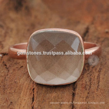 925 anillos de bisel chapado en oro de plata de ley de plata, gris natural calcedonia joya anillo de bisel de joyas fabricante