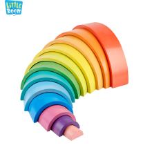 12 Layer Rainbow FSC Custom 1pc Creative Montessori DIY Kids Educational Toys Wooden Stacker Building Blocks For children