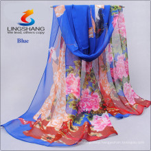 Lingshang sexy women's printing warm soft voile scarf wrap shawl stole chiffon mask wrap neck scarf