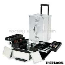 high quality aluminum cosmetic case with 2 wheels from China manufacturer