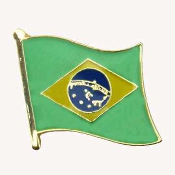 Metal Brazil Flag Safety Pin With Butterfly Clutch