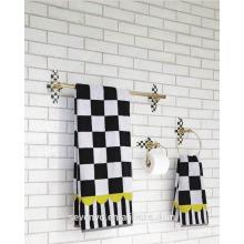 Pastoral style Black and white grid Bath Towel,Towel set BT-078