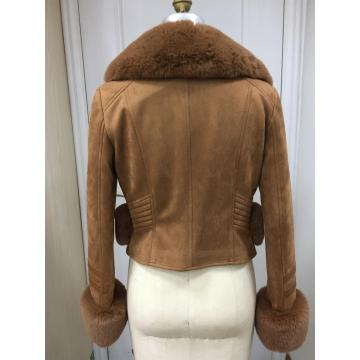 Damen Wildleder Shearling Winterjacke