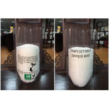 Plastik steht oben biologisch abbaubare Tasche mit Reißverschluss
