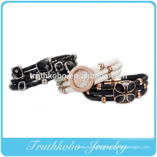 2014 new product fashion high quality stainless steel PU high rubber leather cord bracelet with ball