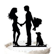 Braut und Bräutigam mit Hund Silhouette Hochzeitstorte Topper