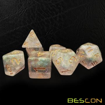 Bescon Shimmery Dice Set Pink-Glaze, RPG 7-dice Set in Brick Box Packing