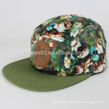 Beautiful 5 panel hat with leather logo