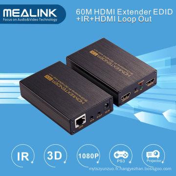 Extender HDMI 60m sur Cat5e / 6 Single, sortie HDMI (bi-directionnel IR + EDID + 3D)