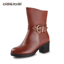 Fashion Ladies Equestrian Brown Genuine Leather Riding Boots