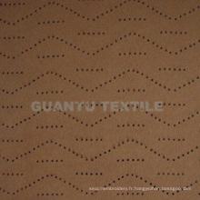 Tissu de décoration de maison 100% polyester de poinçonnage en daim