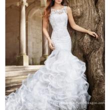 Alibaba lindo vestidos de casamento africano sem mangas Appliqued Mermaid 2017