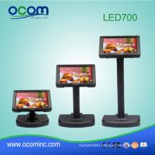 "LED700 : 7"" LED POS split screen Pole Customer Display for cash register"