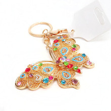 wholesale cheap rhinestone betterfly keychain Metal Keychain
