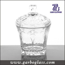 Clear Square Glass Candy Pot with Cover