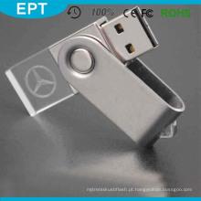 O flash de cristal o mais barato de venda USB do retângulo de USB 2,0 dirige a porta-chaves com logotipo