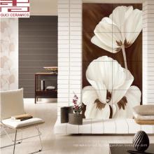 кирпичная отделка стен яркая цветная керамическая плитка с цветочным дизайном